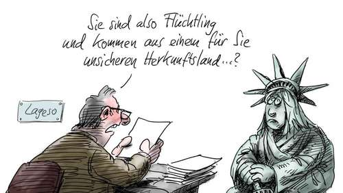 Miss Liberty in Berlin Zeichnung: Stuttmann