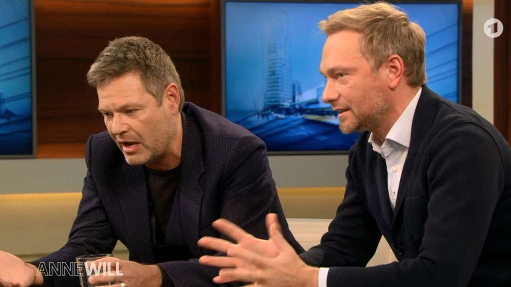 "Robert Habeck und Christian Lindner in der ARD-Talkshow ""Anne Will""."
